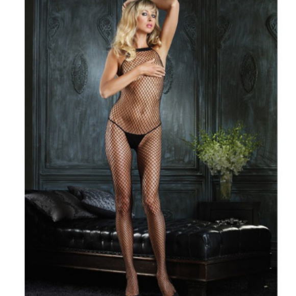 c09446c2a3 Bodystocking -Halter Crotchless Fishnet